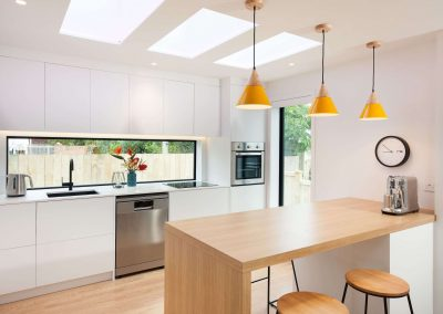 flat aluminium skylights kitchen modern