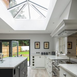 slimline roof lantern skylight kitchen modern bifold