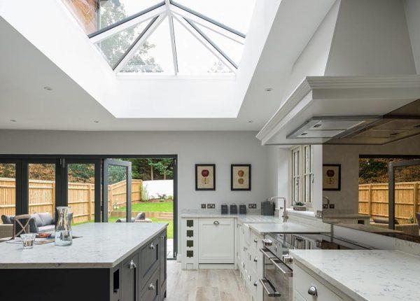 slimline roof lantern skylight kitchen modern bifold