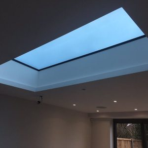flat aluminium roof lantern skylight ceiling evening