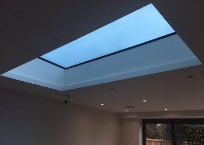 flat aluminium roof lantern skylight ceiling evening