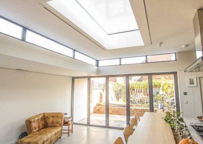flat aluminium roof lantern skylight with bifolding door
